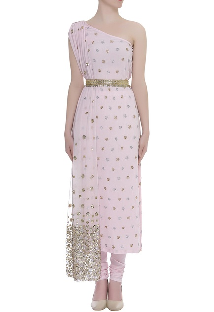 On shoulder Embroidered attached draped kurta with pant