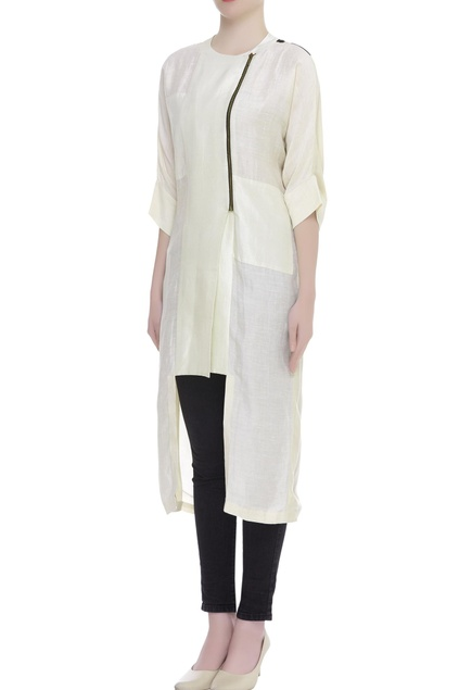 Overlap Zipper Jacket tunic