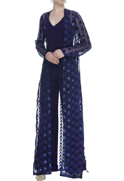 Embroidered Long Shrug