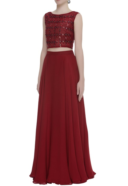 Badla Embroidered Crop-Top With Skirt