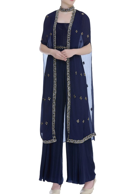 Jumpsuit With Cutdana & Bead Embroidered Cape