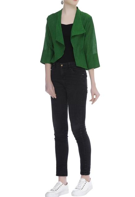 Handloom cotton open jacket