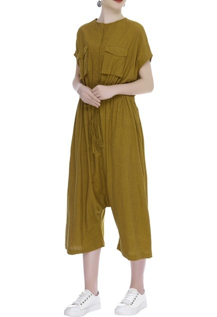 Cropped Handloom cotton jumpsuit