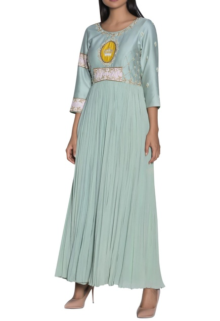 Crown embroidered gown
