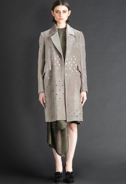 Applique work Over-Sized Coat