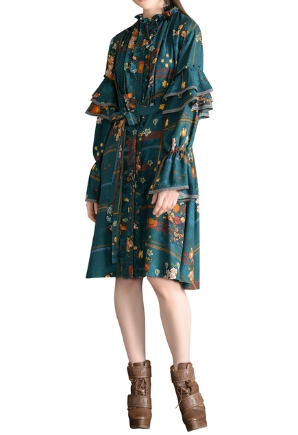 Frill detail sleeves & floral print dress