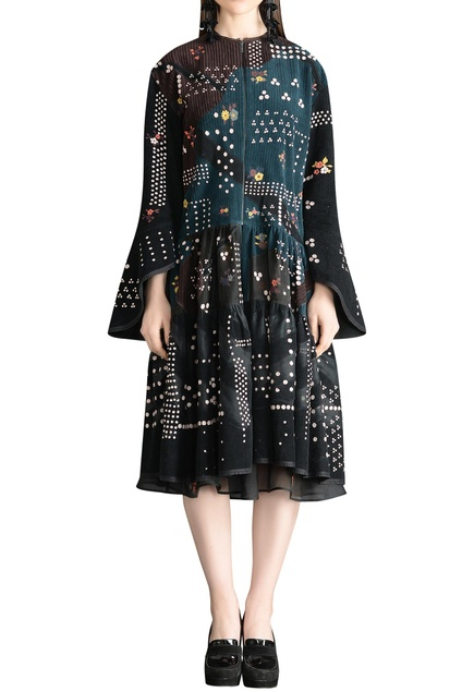 Tiered zippered front detail floral printed dress