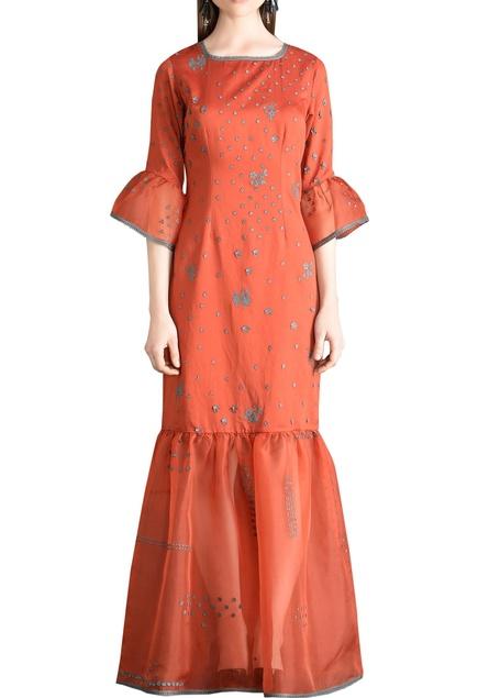 3D motifs embroidered maxi dress