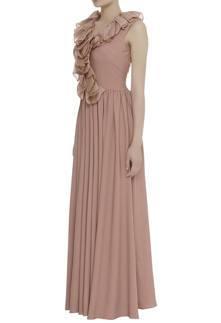 Ruffle neck pleated maxi dress