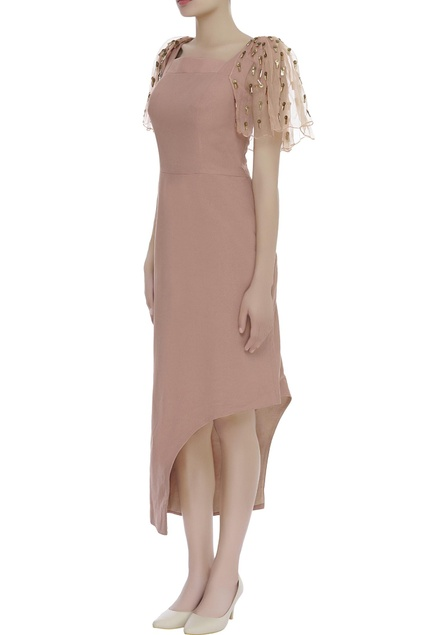 embroidered sleeves asymmetric dress