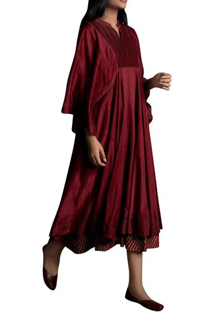 Resham Embroidered Layered Midi Dress