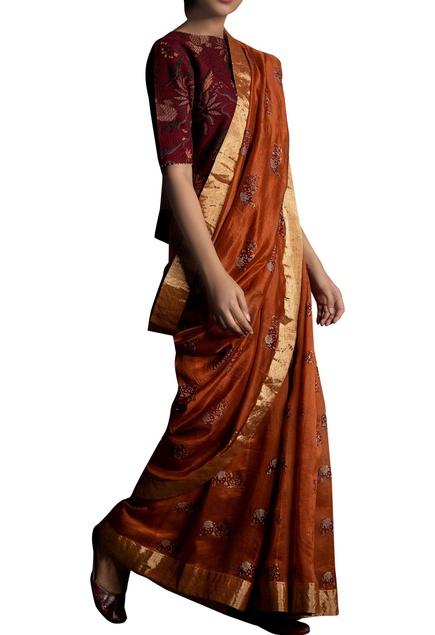 Block printed sari