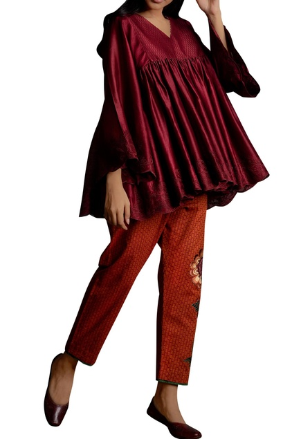Thread embroidered flared tunic