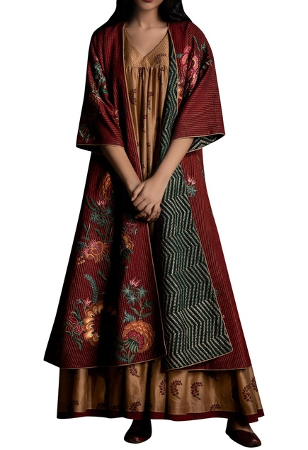 Floral embroidered long jacket