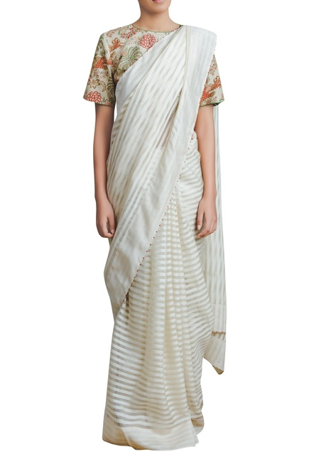 Handwoven French Knot Embroidered Saree
