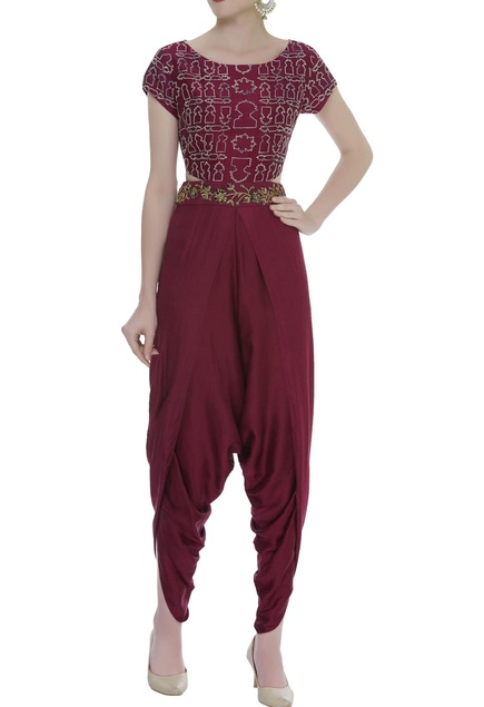Zardozi Embroidered Dhoti Style Jumpsuit