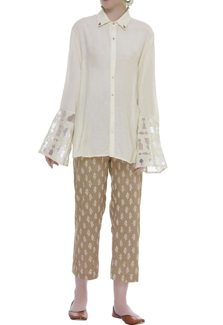 Cutwork Sleeve Shirt With Printed Pants