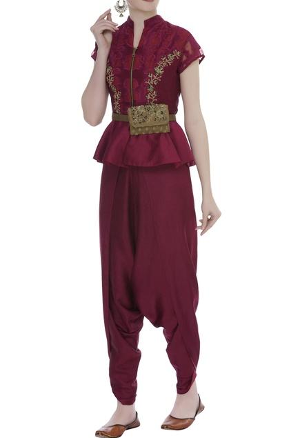 Peplum blouse With Dhoti Pants & Kamarbandh Baguette