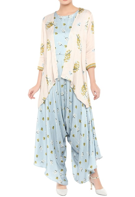 Cowl pleated jumpsuit with printed jacket