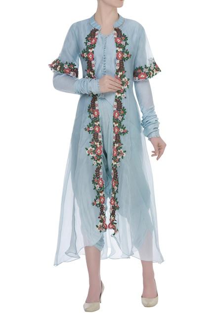 Resham Embroidered Jacket & dhoti pant set