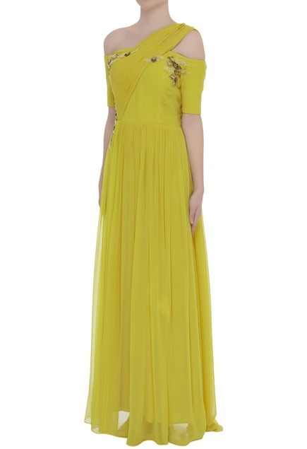 Cold Shoulder One Side Draped Gown