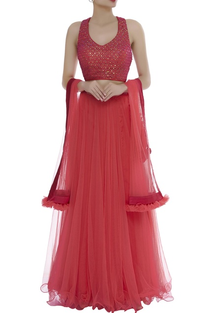 Embrodiered blouse with lehenga & dupatta