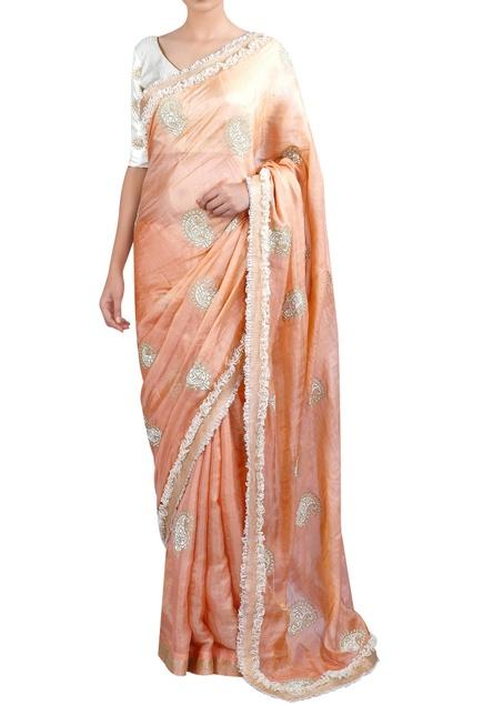 Paisley & threadwork sari with blouse