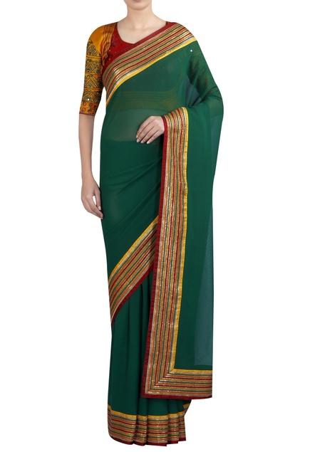 Sequin & threadwork sari with blouse