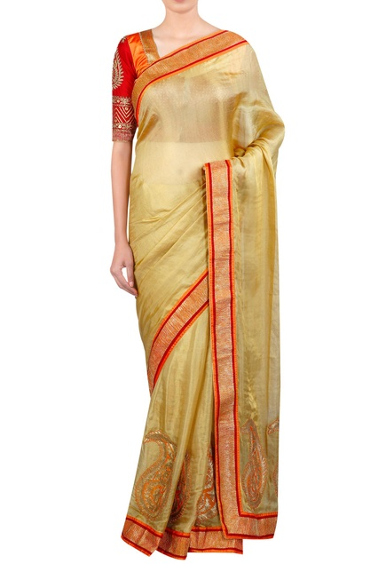Applique work embroidered sari with blouse