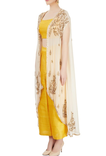 Yellow pant set with embroidered jacket