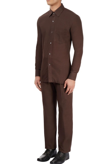 Brown cotton khadi collared shirt