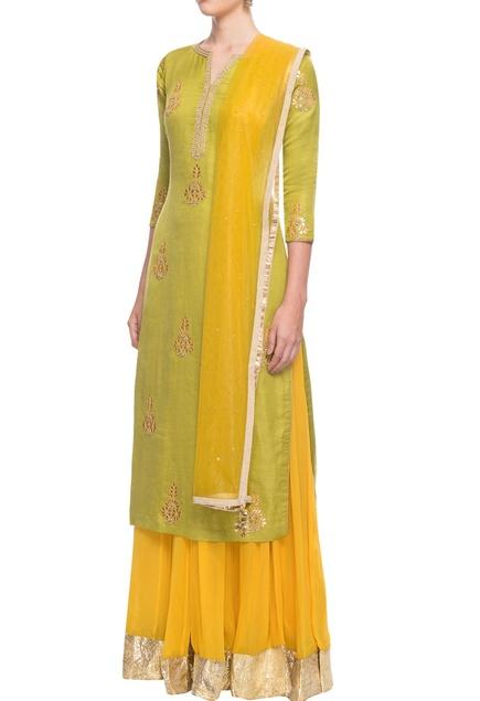 Green & yellow skirt set