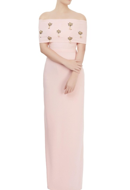 peach sword lily embellished maxi gown