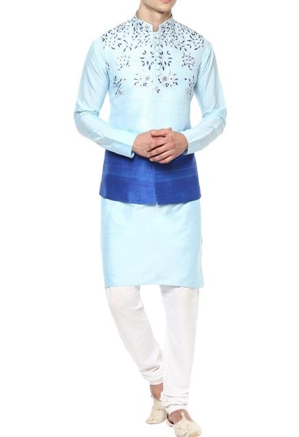 Sky blue kurta set with Nehru jacket