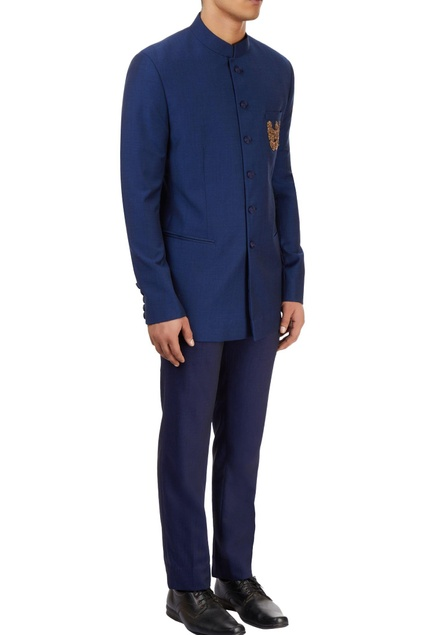 Blue textured bandhgala with pants