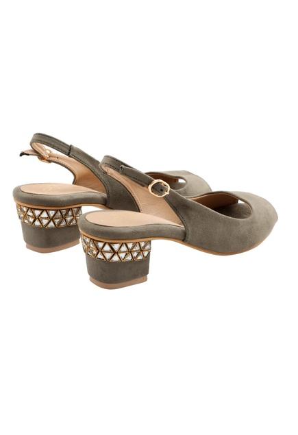 Grey block heels with stone work