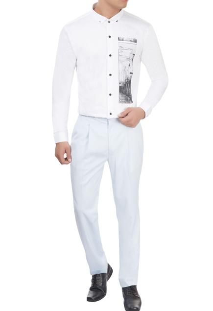 White shirt with digital print detail