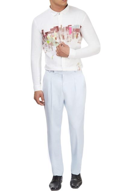 White pixel print shirt