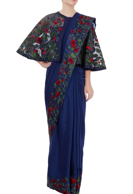 Blue sari with colorful embroidery