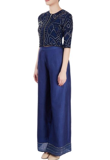 Blue embellished pant set