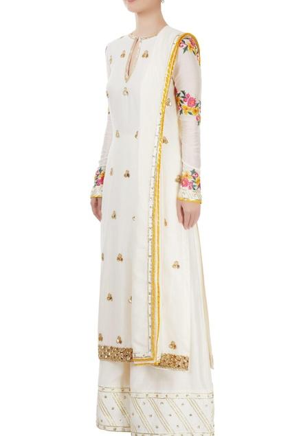 White embroidered kurta set