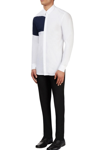 White shirt with blue color block