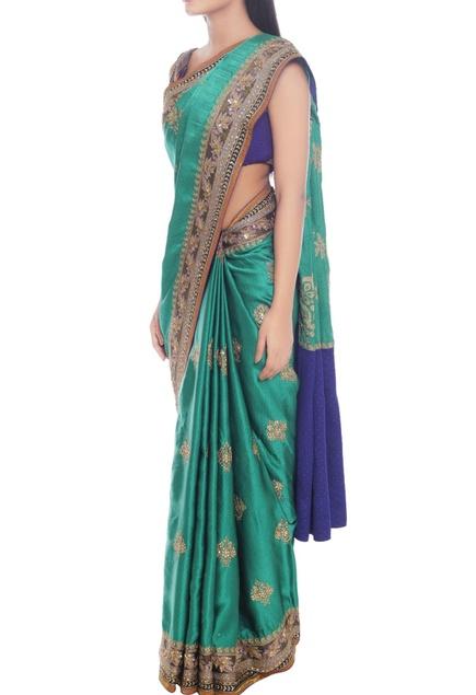 Emerald green sari with royal blue highlight
