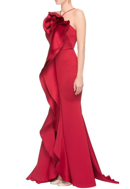 Red gown with floral drape