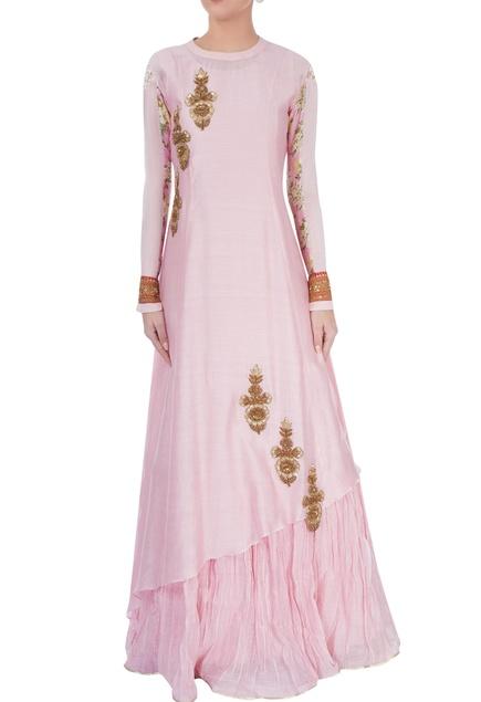 Rose pink anarkali with gold embellishments