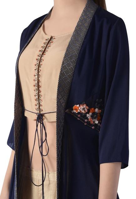 Navy blue & beige embroidered skirt set