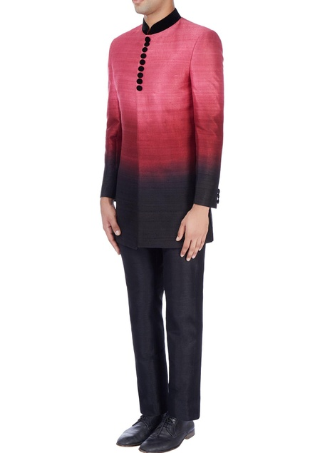 Pink ombre sherwani with black trousers