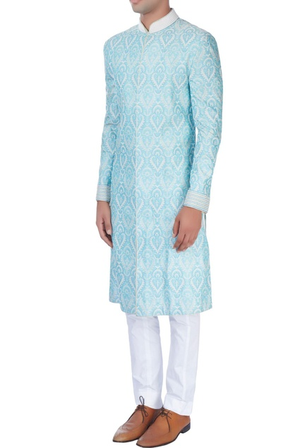 Sky blue sherwani set