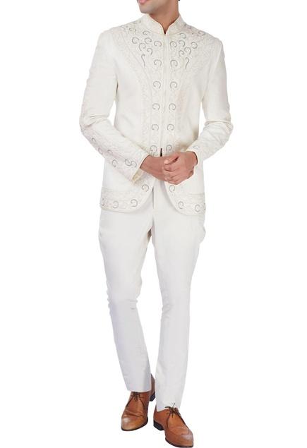 White bandhgala jacket with dori embroidery