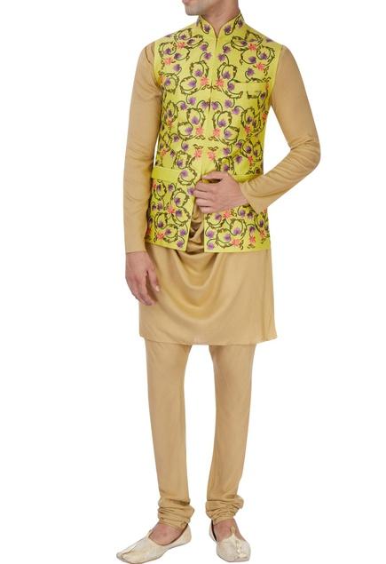 Yellow machine embroidered nehru jacket set